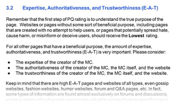 دستورالعمل های گوگل، برای ارزیابی کیفیت سایت ها