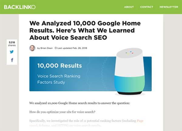 تحقیق backlinko در زمینه بهینه سازی جستجوی صوتی