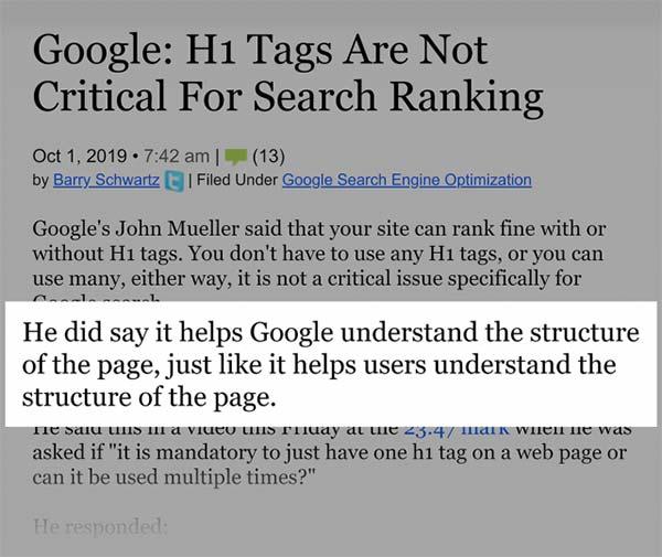 تاثیر تگ H1 بر سئوی گوگل