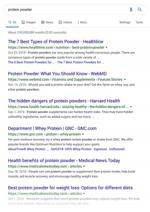 نتایج گوگل برای کلمه ی پودر پروتئین