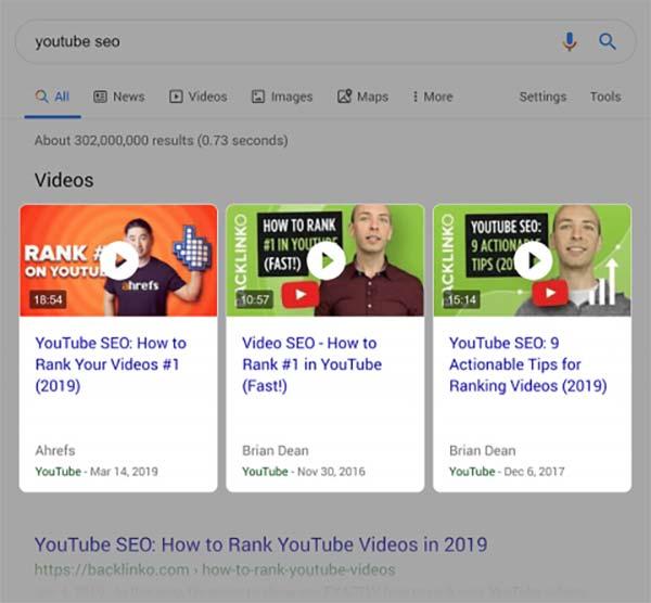 نتایج ویدیویی در سرچ گوگل