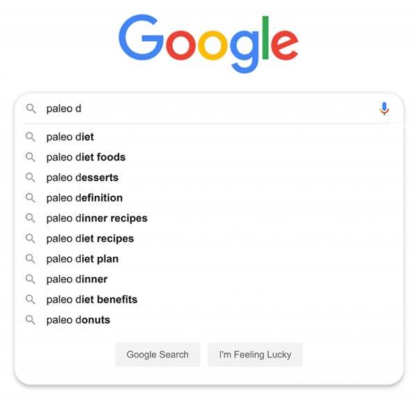 پیشنهادات جستجوی  گوگل