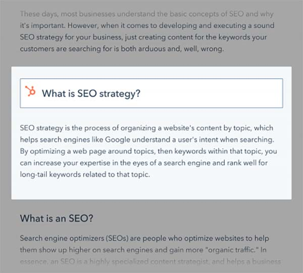 Featured Snippets وب سایت hubspot