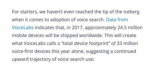 نوشتن محتوای جستجوی صوتی همراه با آمار و داده ها مرتبط است
