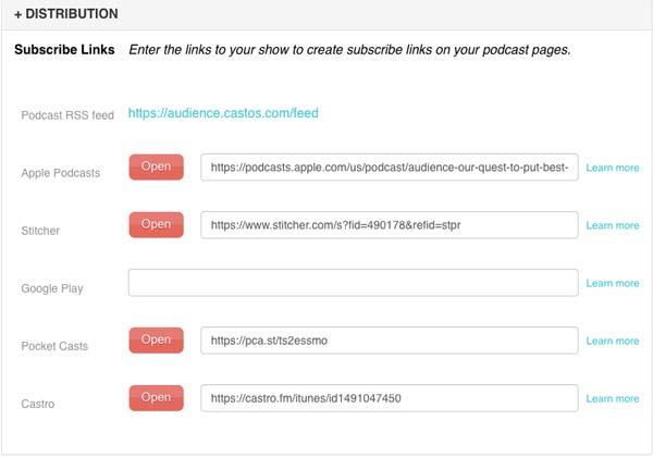 تنظیمات پادکست از سایت Castos