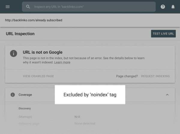 پیغام Excluded by 'noindex' tag در سرچ کنسول