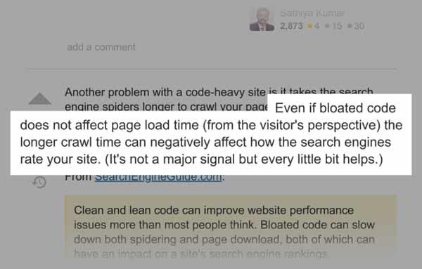 حتی اگر کدهای سنگین سایت بر روی سرعت بارگذاری آن تاثیرگذار نباشد(از دیدگاه بازدیدکنندگان) اما افزایش زمان کراولینگ میتواند تاثیر منفی بر روی رتبهبندی سایت شما در موتورهای جستجو داشته باشد